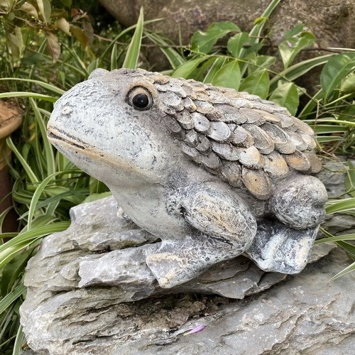 Garden Statue Nature Round Wood Frog Sculpture for Patio Lawn Yard Decor AF0469