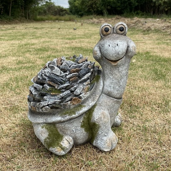 Garden Decor Turtle Statue Stone Covered for Patio Lawn Yard Sculpture AF2003
