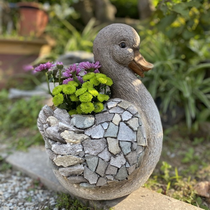 Garden Statue Color Stone Duck Flower Planter for Patio Lawn Yard Decor AF0316