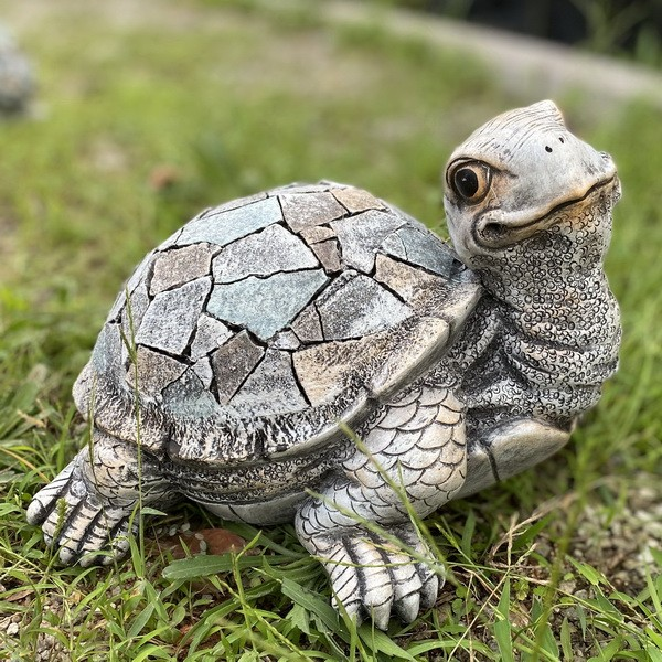 Garden Statue Lovely Stone Turtle Figurine for Patio Lawn Yard Decoration AF0330