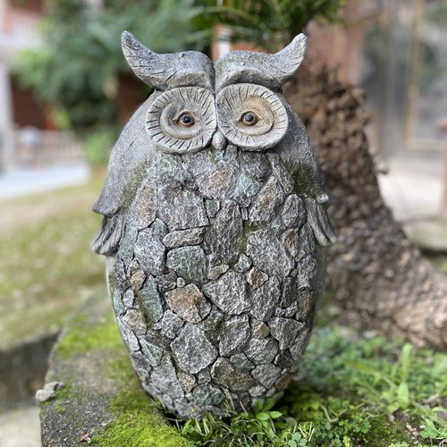 Garden Statue Nature Stone Owl  Sculpture for Patio Lawn Yard Decor AF0274