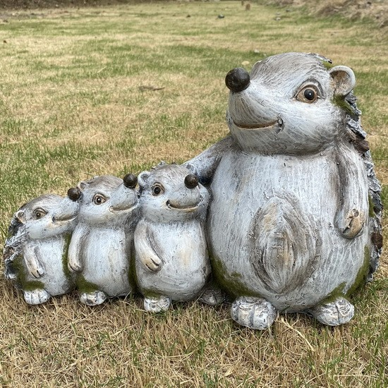 Garden Statue Stone Hedgehog Family Sculpture for Patio Lawn Yard Decor AF2005