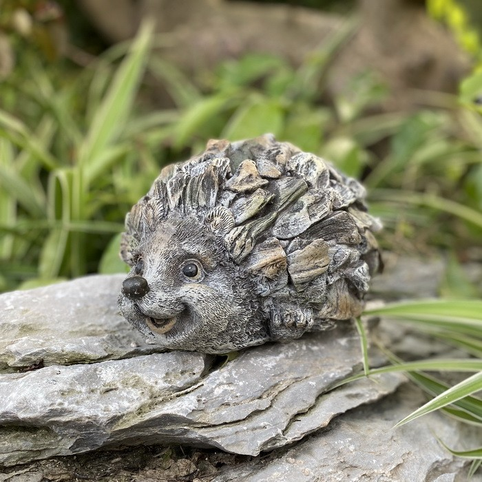 Garden Statue Cute Small Hedgehog Sculpture for Patio Lawn Yard Decor AF4694
