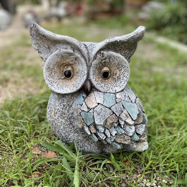 Garden Statue Natural Stone Owl for Patio Lawn Decora Yard Sculpture AF0331