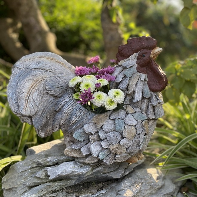 Garden Statue Color Stone Cock Planter for Patio Lawn Yard Decor AF0248